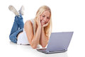 Attractive girl with laptop Royalty Free Stock Photography