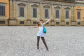 Attractive girl near the Palazzo Pitti in the Boboli gardens, Fl Royalty Free Stock Photo