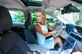 Attractive girl parking her car Royalty Free Stock Photo