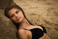 Attractive girl on a sandy beach Stock Photo