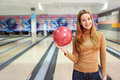 Attractive girl young in bowling Stock Image