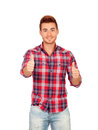 Attractive guy with spiky hair saying ok isolated on white background Stock Photography