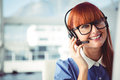 Attractive hipster woman with headset Royalty Free Stock Photo