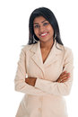 Attractive indian businesswoman hands folded in business suit smiling happy portrait of beautiful asian female model standing Stock Photography