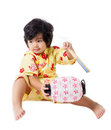 Attractive japanese man with traditional clothing against white looking and smiling Stock Images