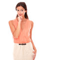Attractive lady in elegant skirt wondering Royalty Free Stock Photo