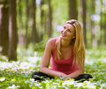 Attractive lady in the forest Royalty Free Stock Photos