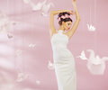 Attractive lady among the paper swans woman Royalty Free Stock Photos