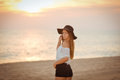 Attractive lady wearing elegant brimmed hat Royalty Free Stock Photo