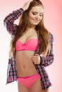 Attractive lady wearing underwear. Royalty Free Stock Photo