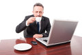 Attractive lawyer enjoying coffee flavour Royalty Free Stock Photo