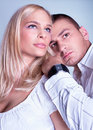An attractive lovely couple in romancing posing Stock Images