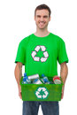Attractive man holding box of recyclables on white background Stock Photo