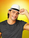 Attractive man wearing hat Royalty Free Stock Photos