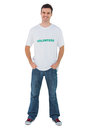 Attractive man wearing volunteer tshirt on white background Royalty Free Stock Images