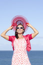 Attractive mature woman happy ocean  Stock Photos