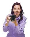 Attractive mixed race young woman with dslr camera on white isolated a background Royalty Free Stock Image