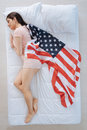 Attractive patriotic woman dreaming of the USA Royalty Free Stock Photo