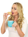 Attractive pretty young woman eating a biscuit holding a blue mug of tea cute with long blonde hair in her twenties looking at the Stock Images