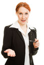 Attractive red-haired business woman in glasses Royalty Free Stock Photo
