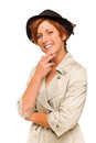 Attractive Red Haired Girl Wearing a Trench Coat and Hat Stock Photography