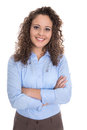 Attractive and smiling isolated young business woman in blue. Royalty Free Stock Photo