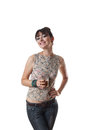 Attractive smiling woman holding full glass Royalty Free Stock Photography
