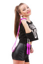 Attractive sporty woman posing holding a skipping rope on white Royalty Free Stock Photo