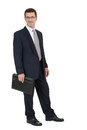 Attractive successful adult business man in black suit isolated on white background Stock Photography