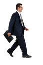 Attractive successful adult business man in black suit isolated on white background Royalty Free Stock Photo