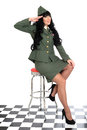 Attractive supportive charitable young vintage pin up model in military uniform or woman royal navy with long black curly hair and Royalty Free Stock Photos
