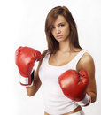 Attractive teenage woman boxing gloves Royalty Free Stock Images