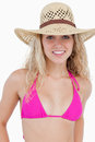 Attractive teenager in beachwear standing upright Royalty Free Stock Image