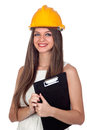 Attractive woman with blue eyes and yellow helmet Royalty Free Stock Photos