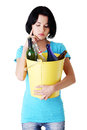 Attractive woman with bottles recycling idea isolated on white Royalty Free Stock Photos