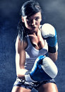 Attractive woman boxing Royalty Free Stock Photo