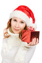 Attractive woman in Christmas presents gift Stock Photos