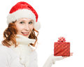 Attractive woman in Christmas presents gift Royalty Free Stock Photos