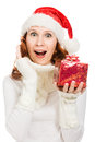 Attractive woman in Christmas presents gift Stock Image