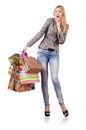 Attractive woman after christmas shopping Royalty Free Stock Images