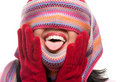 Attractive Woman With Colorful Scarf Over Eyes Royalty Free Stock Photography