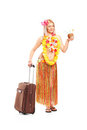 Attractive woman dressed in a hawaiian costume Stock Photography