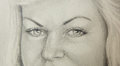 Attractive woman eye - close up pencil drawing. Royalty Free Stock Photo