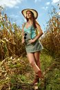 Attractive woman farmer in the cornfield sexy standing at harvest Royalty Free Stock Photos