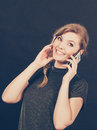 Attractive woman flirting texting on mobile phone. Royalty Free Stock Photo