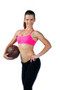 Attractive woman with football ball posing Royalty Free Stock Photos