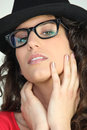 Attractive woman in geeky glasses Royalty Free Stock Photo