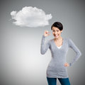 Attractive woman gestures small amount isolated on grey background with cloud Royalty Free Stock Photos