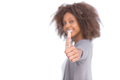 Attractive woman giving her thumb up on white background Royalty Free Stock Image