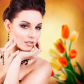 Attractive woman with glamorous make up Royalty Free Stock Photo